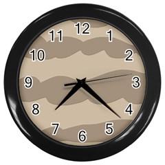Pattern Wave Beige Brown Wall Clocks (Black)