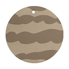 Pattern Wave Beige Brown Round Ornament (two Sides) by Amaryn4rt