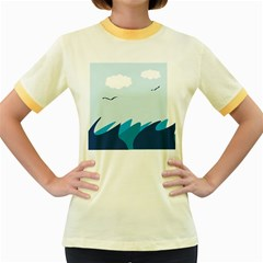 Sea Women s Fitted Ringer T Shirts by Amaryn4rt