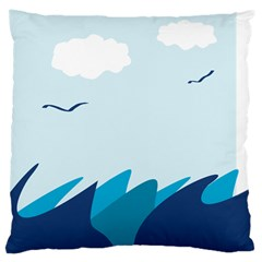 Sea Large Cushion Case (two Sides) by Amaryn4rt