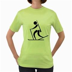 Biathlon Pictogram Women s Green T Shirt by abbeyz71