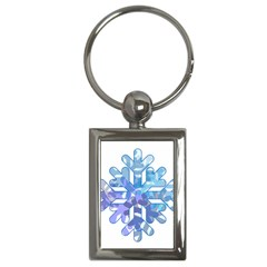 Snowflake Blue Snow Snowfall Key Chains (rectangle)  by Amaryn4rt