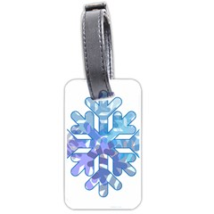 Snowflake Blue Snow Snowfall Luggage Tags (two Sides) by Amaryn4rt