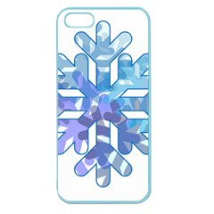 Snowflake Blue Snow Snowfall Apple Seamless Iphone 5 Case (color) by Amaryn4rt
