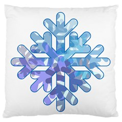 Snowflake Blue Snow Snowfall Standard Flano Cushion Case (two Sides) by Amaryn4rt