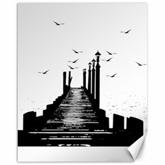 The Pier The Seagulls Sea Graphics Canvas 16  X 20