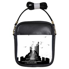 The Pier The Seagulls Sea Graphics Girls Sling Bags by Amaryn4rt