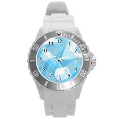 Blue Sky Round Plastic Sport Watch (l) by Jojostore