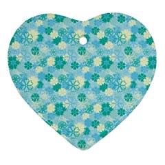Blue Floral Flower Heart Ornament (two Sides) by Jojostore