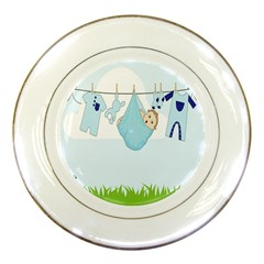 Baby Boy Clothes Line Porcelain Plates by Nexatart