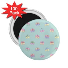 Butterfly Pastel Insect Green 2 25  Magnets (100 Pack)  by Nexatart