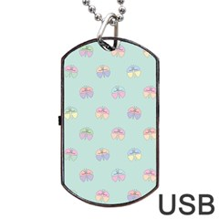 Butterfly Pastel Insect Green Dog Tag USB Flash (Two Sides) by Nexatart