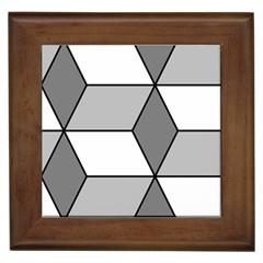 Diamond Cubes Gray Framed Tiles by Jojostore