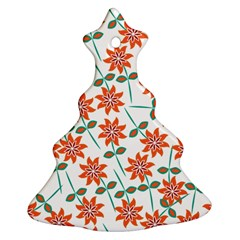 Clipart Floral Seamless Flower Leaf Christmas Tree Ornament (two Sides) by Jojostore