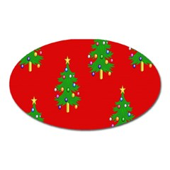 Christmas Trees Oval Magnet by Nexatart