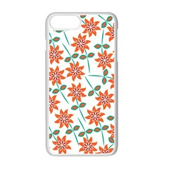 Clipart Floral Seamless Flower Leaf Apple iPhone 7 Plus White Seamless Case by Jojostore