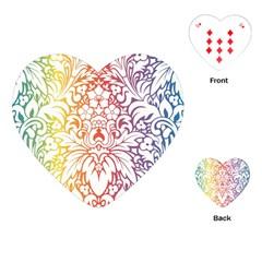Cool Flower Rainbow Blue Purple Red Orange Yellow Green Playing Cards (heart)  by Jojostore