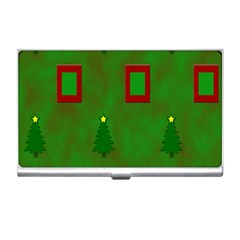 Christmas Trees And Boxes Background Business Card Holders