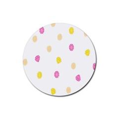 Diamond Pink Yellow Rubber Coaster (round)  by Jojostore