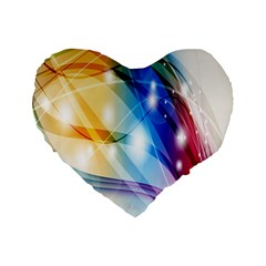 Colour Abstract Standard 16  Premium Flano Heart Shape Cushions by Nexatart