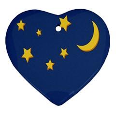 Starry Night Moon Ornament (heart) by Jojostore