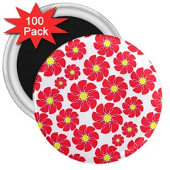 Seamless Floral Flower Red Fan Red Rose 3  Magnets (100 pack) by Jojostore