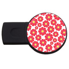 Seamless Floral Flower Red Fan Red Rose Usb Flash Drive Round (4 Gb) by Jojostore