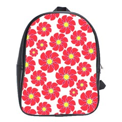 Seamless Floral Flower Red Fan Red Rose School Bags (xl)  by Jojostore
