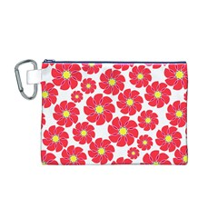 Seamless Floral Flower Red Fan Red Rose Canvas Cosmetic Bag (M) by Jojostore