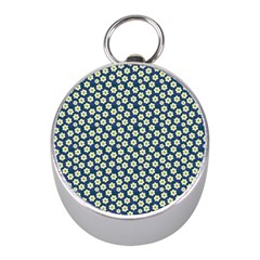 Floral Seamless Flower Blue Mini Silver Compasses by Jojostore
