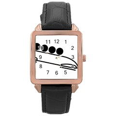 Bobsleigh Pictogram Rose Gold Leather Watch  by abbeyz71
