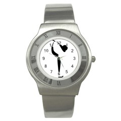 Figure Skating Pictogram Stainless Steel Watch by abbeyz71