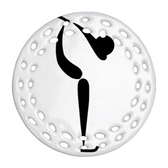 Figure Skating Pictogram Round Filigree Ornament (two Sides) by abbeyz71