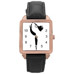 Figure Skating Pictogram Rose Gold Leather Watch  by abbeyz71