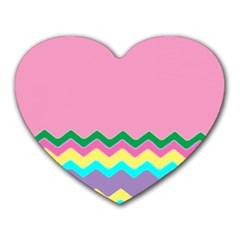Easter Chevron Pattern Stripes Heart Mousepads by Nexatart
