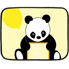 First Birthday Panda Card Double Sided Fleece Blanket (mini)  by Nexatart