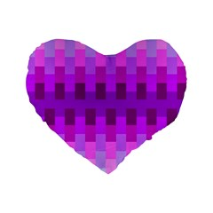 Geometric Cubes Pink Purple Blue Standard 16  Premium Flano Heart Shape Cushions by Nexatart