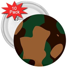 Military Camouflage 3  Buttons (10 pack)  by Nexatart