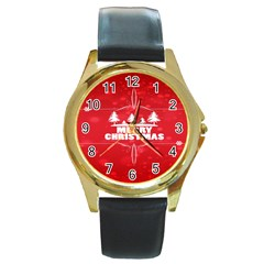 Red Bokeh Christmas Background Round Gold Metal Watch by Nexatart