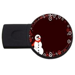 Snowman Holidays, Occasions, Christmas Usb Flash Drive Round (2 Gb) by Nexatart