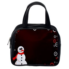 Snowman Holidays, Occasions, Christmas Classic Handbags (one Side) by Nexatart