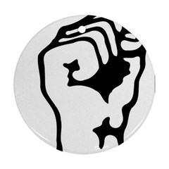 Skeleton Right Hand Fist Raised Fist Clip Art Hand 00wekk Clipart Round Ornament (two Sides) by Foxymomma