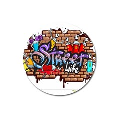 Graffiti Word Characters Composition Decorative Urban World Youth Street Life Art Spraycan Drippy Bl Magnet 3  (round) by Foxymomma