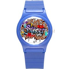 Graffiti Word Characters Composition Decorative Urban World Youth Street Life Art Spraycan Drippy Bl Round Plastic Sport Watch (s) by Foxymomma
