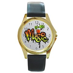 Graffiti Word Character Print Spray Can Element Player Music Notes Drippy Font Text Sample Grunge Ve Round Gold Metal Watch by Foxymomma