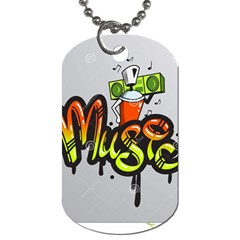 Graffiti Word Character Print Spray Can Element Player Music Notes Drippy Font Text Sample Grunge Ve Dog Tag (one Side) by Foxymomma