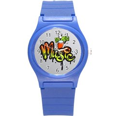 Graffiti Word Character Print Spray Can Element Player Music Notes Drippy Font Text Sample Grunge Ve Round Plastic Sport Watch (s) by Foxymomma