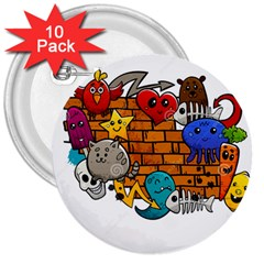 Graffiti Characters Flat Color Concept Cartoon Animals Fruit Abstract Around Brick Wall Vector Illus 3  Buttons (10 Pack)  by Foxymomma