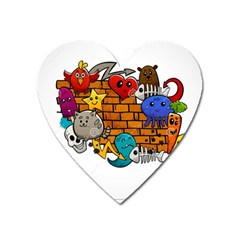 Graffiti Characters Flat Color Concept Cartoon Animals Fruit Abstract Around Brick Wall Vector Illus Heart Magnet by Foxymomma