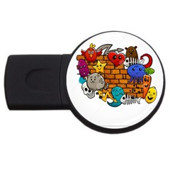Graffiti Characters Flat Color Concept Cartoon Animals Fruit Abstract Around Brick Wall Vector Illus Usb Flash Drive Round (2 Gb) by Foxymomma